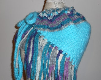 Turquoise Chenille Triangle Shawl
