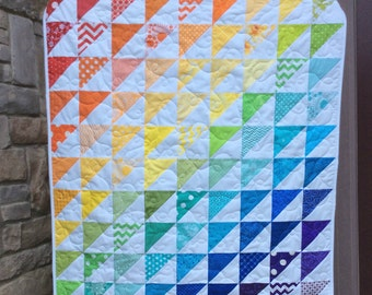 Rainbow Baby Quilt, Baby Girl Quilt, Modern Baby Quilt, Crib Quilt, Baby Blanket, Baby Gift