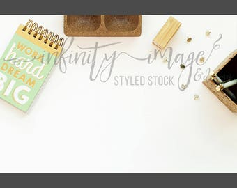 White Horizontal Styled Stock Product Photography Background w/Green & Brown Notebook, Journal, Pen, Stapler / High Res File #INF106SS