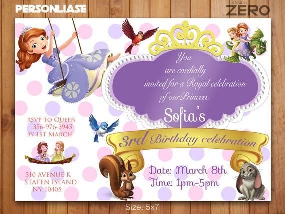 Princess Sofia Invitation Personalize Birthday Invitation Print
