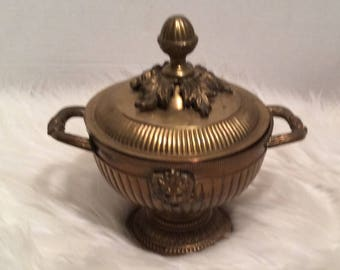 Vintage Solid Brass Urn With Lid Made in India Decorative Lions Head