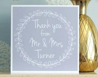 Personalised Wedding Thank You Card - Grey - Mr & Mrs Any Name - Personalized Wedding Thankyou Cards by Dazzilicious Designs