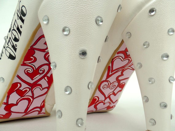 Shoes Bridal wedding painted Custom Wedding Vintage Rockabilly Shoes Hand qwXwZxRTf