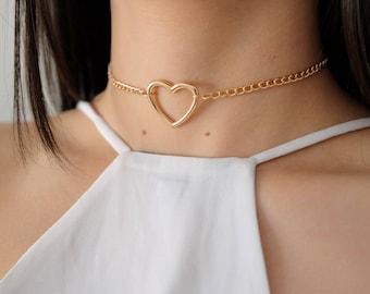 Gold Silver Heart Chunky Dainty Choker Necklace / Gold Silver Layering Choker / Curb Chain Choker