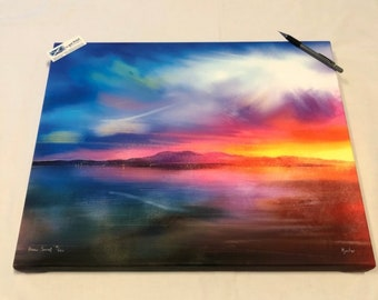 Arran Sunset | Stretched Canvas Limited Edition Giclee Scottish Fine Art Print | Scotland