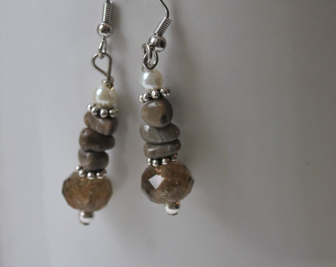 Petoskey stone nugget earrings with pearls, metallic brown crystals, Up North, Lake Michigan