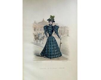 ANTIQUE FRENCH FASHION lithograph - original antique print - fashion illustration design fashion designer - blue plaid dress