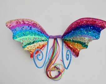Rainbow dreams full sequinned wings with curly antennae - Fairylove