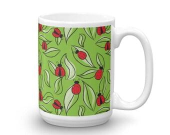 Ladybug Mug - 15 oz - Lady Bug Coffee Cup