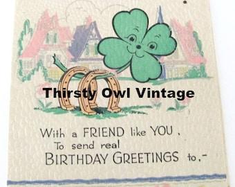 Digital Download, Vintage Shamrock Birthday Card, 1940's Birthday Card Image, Vintage Shamrock Image, Printable Image, Scrapbooking