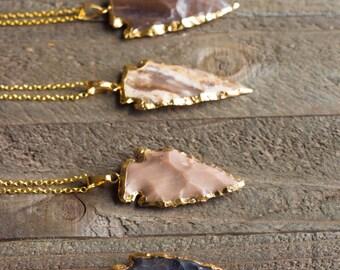 Arrowhead necklace,Arrowhead,Gold Dipped Jasper Arrowhead Necklace,Jasper Arrowhead Necklace,Jasper Arrowhead,Gold Arrowhead,BOHO