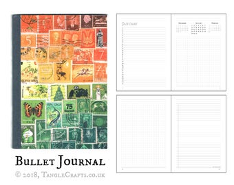 Sunset Journal - Undated Diary, Bullet Point Book | Boho Office Gift, Orange Green A5 Planner Book | Abstract Landscape Postage Stamp Print