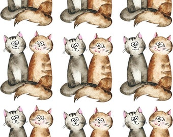 Kitty Pals - Ceramic Waterslide Decal - Enamel Decal - Fusible Decal - 66942