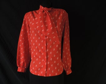 red and white ascot blouse vintage 70s comma print jabot secretary plus size top XL