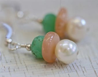 Gemstone sterling earrings pearls, chrysoprase, moonstone