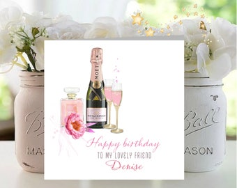 Personalised Happy Birthday Friend, Bottle Pink Champagne and Glasses, Any name, age if required, Mum, Sister,Daughter, Aunt,Niece.