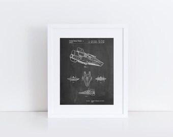 Star Wars RZ-1 A Wing Starfighter Patent Poster, Return of the Jedi, Starwars Art, Star Wars Ships, Movie Wall Art, Star Wars Gift, PP0097