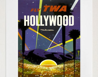 Hollywood Vintage Travel Poster Los Angeles Wall Art Print (ZT578)