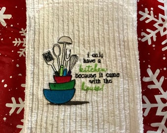 Embroidered Dish Towel - I only...