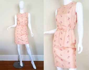 Vintage 60s Dress / Raw Silk Dress / Embroidery / 60s Sheath Dress / Floral / Size S