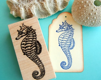 Seahorse Rubber Stamp - Handmade by BlossomStamps