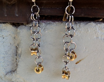 Recycled Bass Strings - Restored Bass String Dangle Earrings