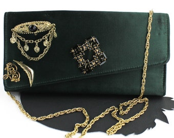 Vintage Forest Green Satin Convertible Purse / Clutch with Baroque Inspired Brooches