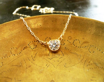 Diamond Look Necklace - Tiny Gold and CZ Necklace. Gold and Diamond Necklace. Holiday Necklace.