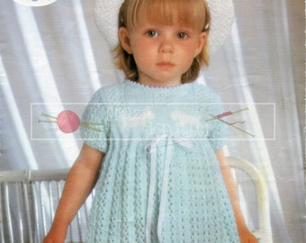 "Baby Girl's Dress 21-23"" 4-ply Sirdar 3371 Vintage Knitting Pattern PDF instant download"