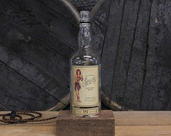 Sailor Jerry Rum Bottle Desk Lamp - Features Reclaimed Wood Base, Edison Bulb, Twisted Cloth Wire, In line Switch, And Plug, Handmade Light