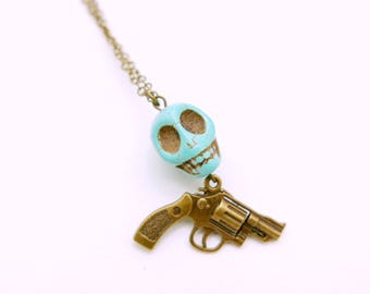 Skull Necklace, Chess jewelry, Gun Necklace, skull jewelry, gothic necklace, gothic jewelry