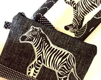 Zebra scrap bag pouch in black