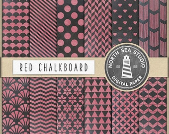 COLOURED CHALKBOARD Digital Paper Chalk Papers Chalkboard Patterns Scallop Shell Chevron Scrapbooking Background Party Paper BUY5FOR8