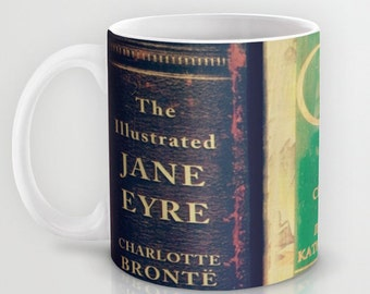 Jane Eyre mug: coffee, tea, cup, Bronte, kitchen, brown, green, library, books