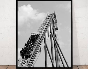 Roller Coaster photography, black & white photo, Minimalist Art, Black and White Photography, Modern Art Wall Decor