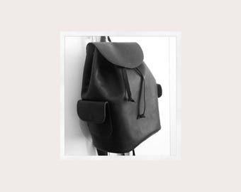 Handmade black leather back pack