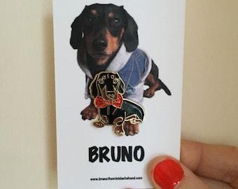 Bruno the Mini Dachshund enamel pin badge