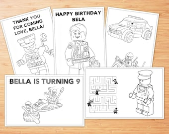 Lego Police Birthday Coloring Pages, 5 Lego Police Printable Coloring Pages, Lego Police Activity Coloring Pages, Lego Police Personalized
