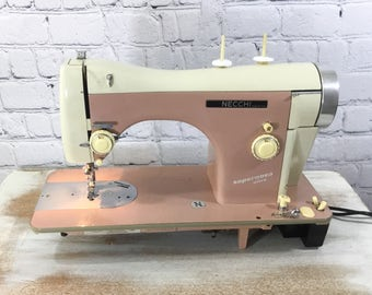 Reserved for C.S. - Necchi Sewing Machine - Vintage Restored Classic BF Supernova Ultra - Pink and White