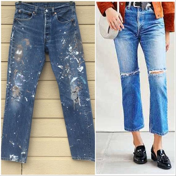 Levi's 501 501s Boyfriend Jeans Vintage Levis denim, 36 X 33 Button Fly Indigo Denim high waist Haute fashion Distressed Paint 29 eb