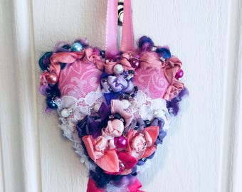 Valentine Heart Pink Ornament Flower Vintage Lace Beaded