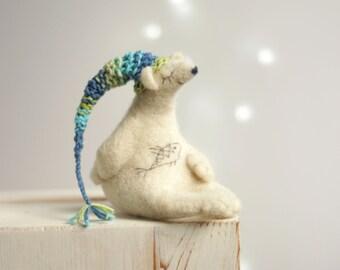 Needle Felted Bear -  Needle Felt Animals - White Bear With A Nightcap - Gift Idea - Polar Bear - Art Doll - Wool - Handmade - Home Decor