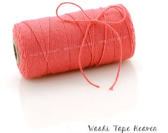 Solid Coral Bakers Twine - 240 yard spool - 100% Cotton - Solid color to mix and match - Divine Twine Made in the USA - Biodegradeable