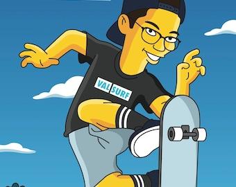 Skateboarder Gift  - Custom Portrait from your Photo as Yellow Cartoon Character / skateboarding gifts / skateboard art