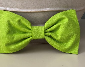 XL Dog Bow - Bow Tie / Bright Lime Green Patterned