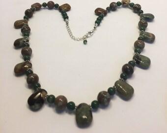"Necklace Smooth Polished Jasper Nuggets Gemstone Adjustable 19"" to 21"""