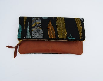 FOLDOVER CLUTCH, feather clutch, black foldover bag, leather clutch purse, Wallet, vegan clutch bag, everyday casual bag, gift for her
