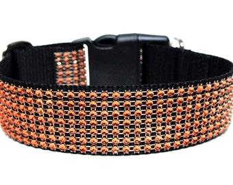 "Orange Rhinestone Dog Collar 1.5"" Halloween Dog Collar"