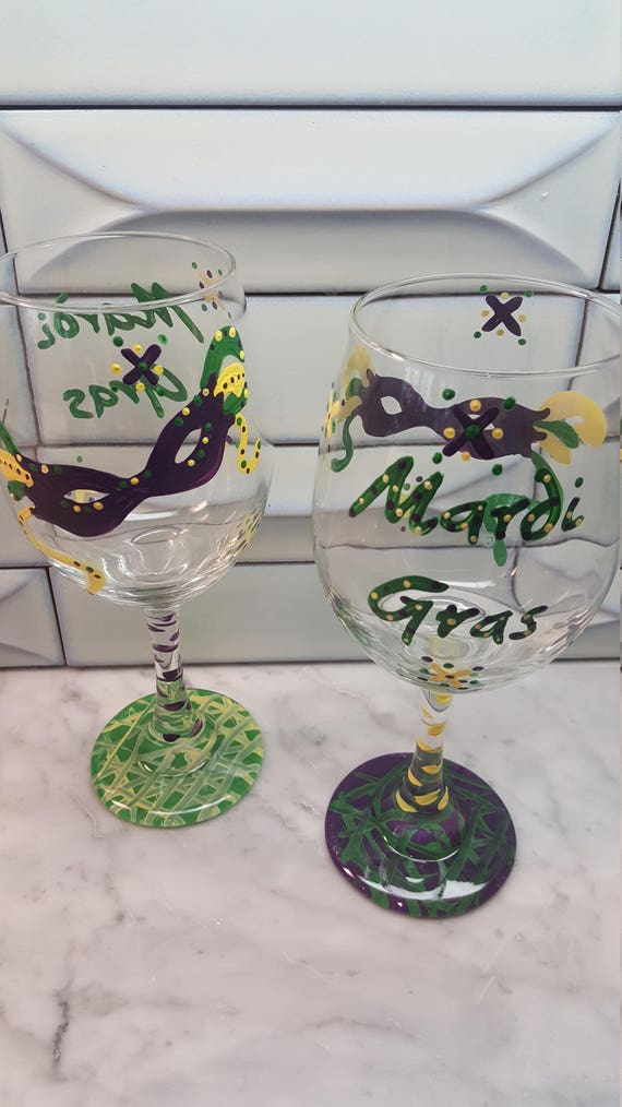 Mardi Gras Painted Glasses