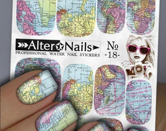 Designer nails water transfer nails nail art sticker 18 world map nail water wraps art stickers decals gumiabroncs Images